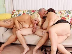 Four BBWs Suck Cock